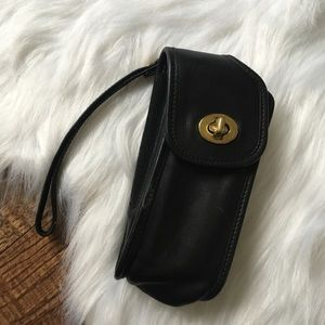 Coach Leather Turn Lock Cell Phone Case Wristlet